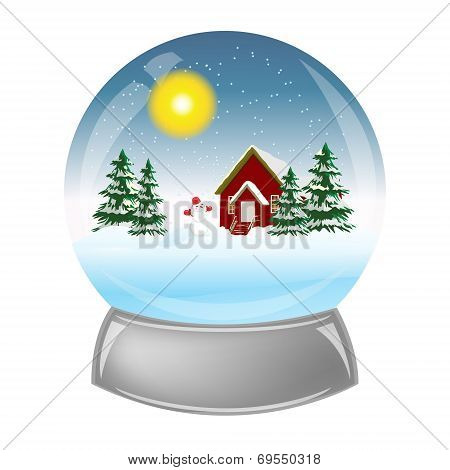 Glass ball with the installation of winter inside.