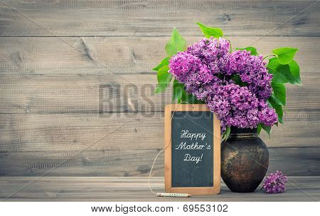 Bouquet Of Lilac Flowers. Happy Mother's Day