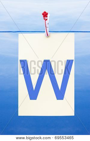 Seamless Washing Line With Paper Showing The Letter W