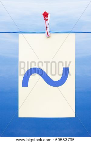 Seamless Washing Line With Paper Showing Tilde