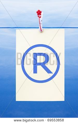 Seamless Washing Line With Paper Showing Registered Trademark