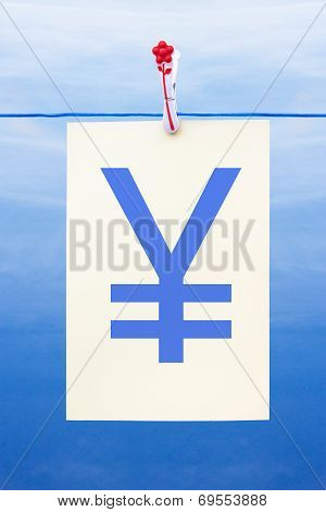 Seamless Washing Line With Paper Showing Yen Sign