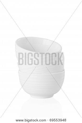 three white empty pots