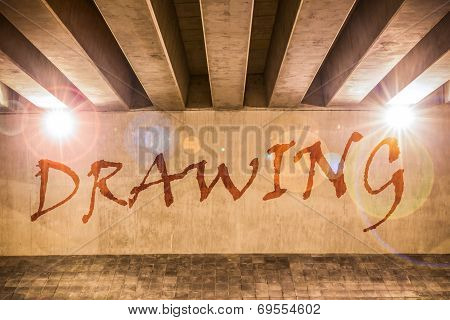 The Word Drawing Painted As Graffiti