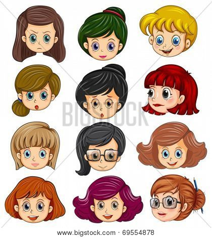 Illustration of a set of women faces