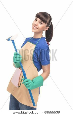 Cleaning Concept: Happy Caucasian Female Holding Rubber Scraper Swab And Smiling
