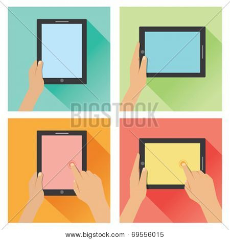 Hand holding tablet flat design