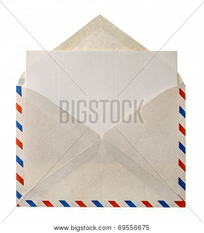 Vintage Air Mail Envelope Letter Isolated On White