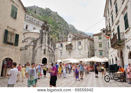 Kotor, Montenegro - July 9: Square And Church Of Saint Luke On July 9, 2014 In Kotor, Montenegro