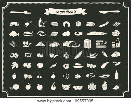 food ingredients illustrations on black