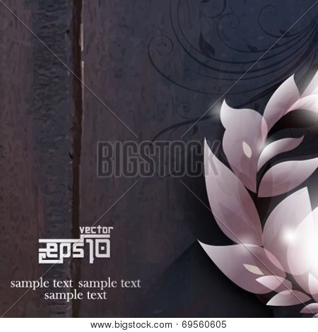eps10 vector foliage on wood background