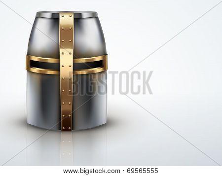 Light Background Crusader Knight's Helmet Vector