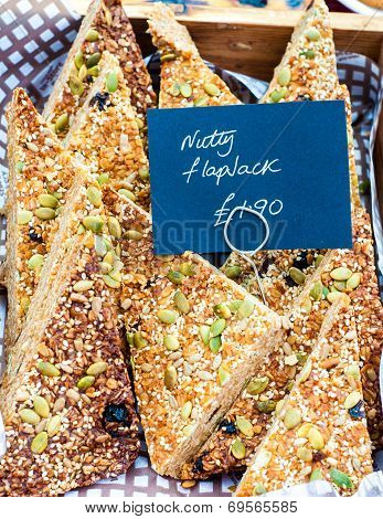 Flapjack British Slices With Sesame And Pumpkin Seeds In The Market