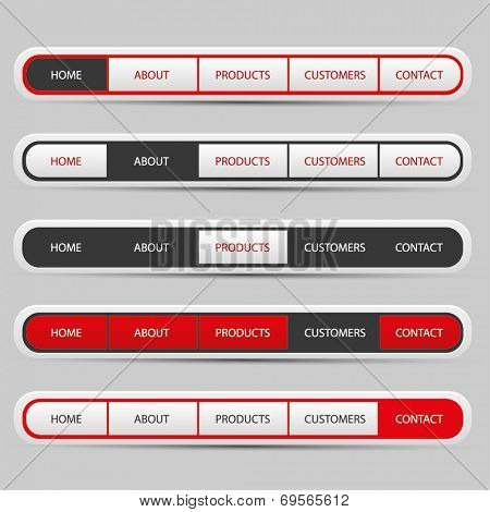 Navigation bar set with red, white and black colors - vector illustration