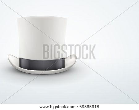 Light Background White gentleman hat cylinder with black ribbon.