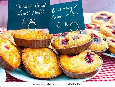 Delicious Round Raspberry Tarts In British Market
