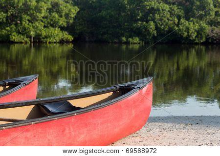 Prows Or Front Of Two Plastic Kayaks Or Canoes