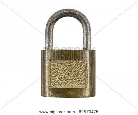 Vintage pad lock isolated with clipping path.