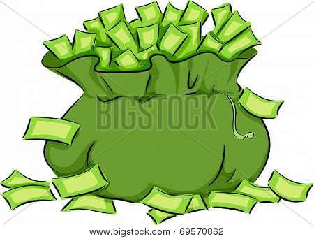 Illustration Featuring a Green Bag Overflowing with Cash