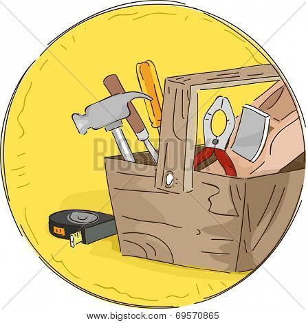 Icon Illustration Featuring a Tool Box Full of Different Tools