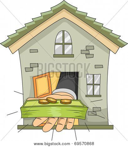 Illustration Featuring a Hand Extending Money from the Door of a House