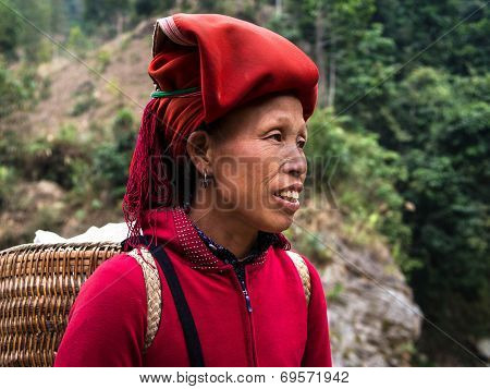 Red Dao Woman Wearing Traditional Headdress, Sapa, Lao Cai, Vietnam