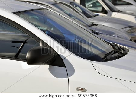 Traffic congestion: View of parked cars in crowded car park