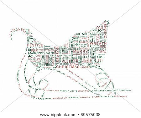 Sleigh Shaped Word Cloud