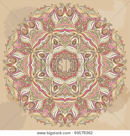 Vector Doily Round Lace Pattern. Circle Background