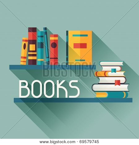 Card with books on bookshelves in flat design style.