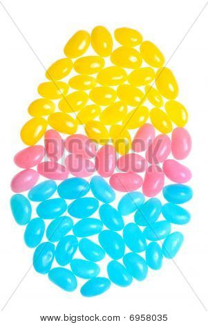 Colorful Easter Jelly Beans Making An Egg Shape