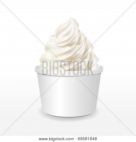Blank Paper Cup With Milk Ice Cream