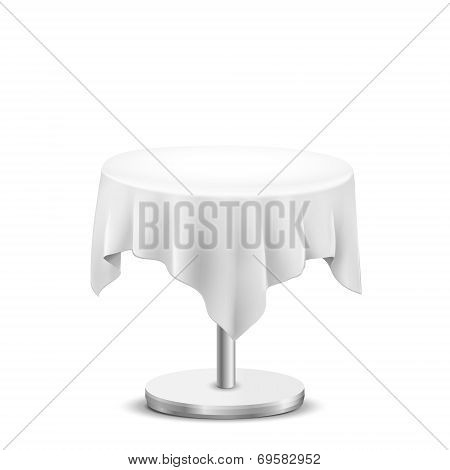 White Round Table With Cloth