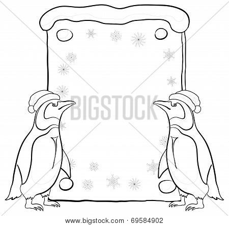 Penguins with Christmas poster, outline