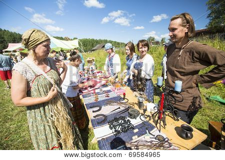SOGINITSY, RUSSIA - JULY 26, 2014: Unidentified participants during folk festival Ivan-Tea (lat. Chamaenerion) from ecovillage Grishino.