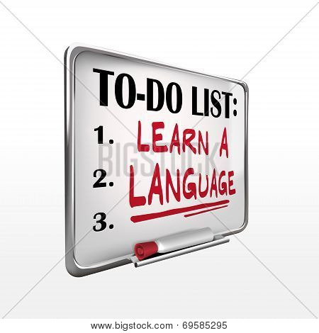 Learn A Language On To-do List Whiteboard