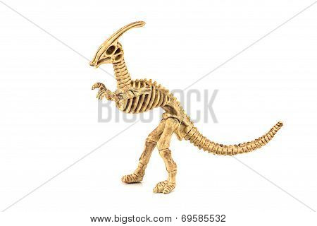 Parasaurolophus Dinosaur Fossil Skeleton Toy Isolated On White