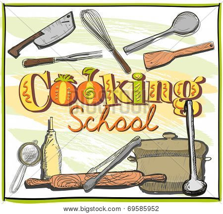 Cooking school graphic design with utensils. Eps10