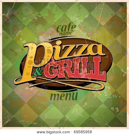 Pizza and grill menu card design, retro style. Eps10