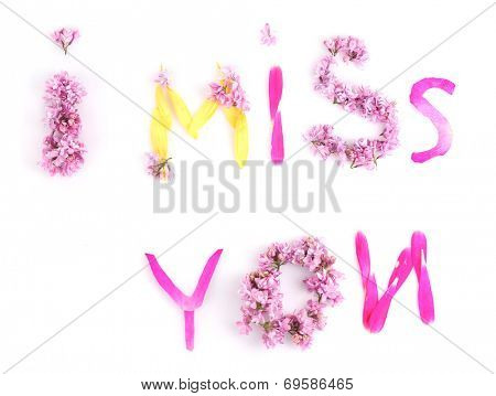 I miss you laid out from petals and flowers  isolated on white