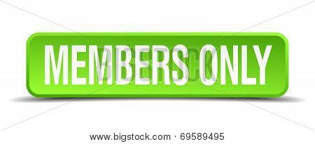 Members Only Green 3D Realistic Square Isolated Button