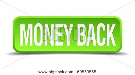 Money Back Green 3D Realistic Square Isolated Button