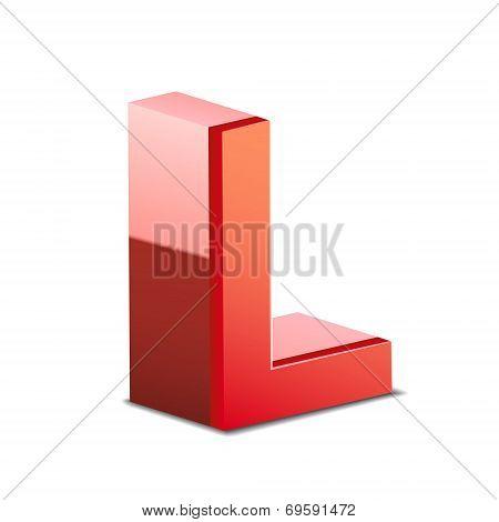 3D Red Letter L