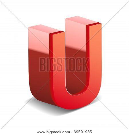 3D Red Letter U