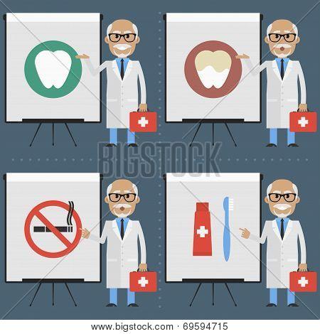Old doctor stomatologist indicates on flipchart infographics