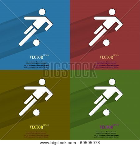 Color set football player. Flat modern web button with long shadow and space for your text.