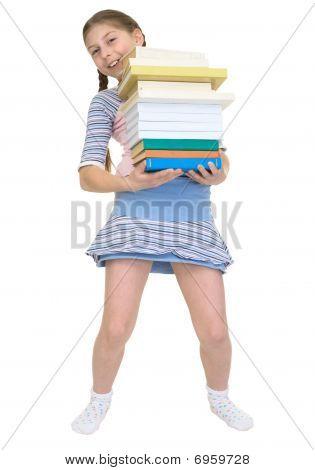 Ð«choolgirl Has Large Stack Of Textbooks