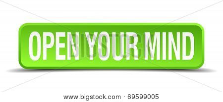 Open Your Mind Green 3D Realistic Square Isolated Button