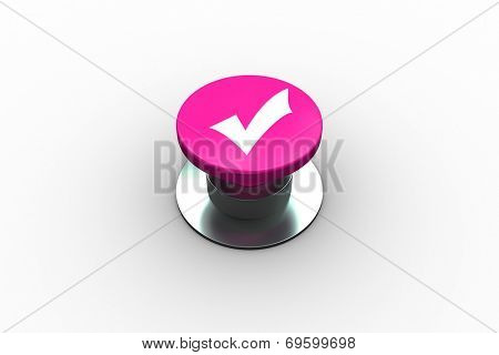 Composite image of tick symbol graphic on pink push button