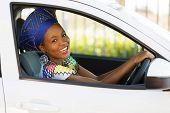 foto of zulu  - beautiful young african woman driving a car - JPG